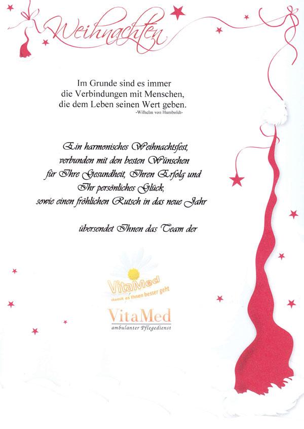 Text Weihnachtsgrüße.Weihnachtsgrüsse Für Unsere Patienten Vitamed Ambulanter